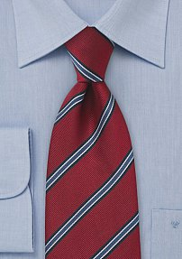 Red and Blue Regimental Striped Tie