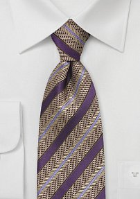 Patterned Tie in Purple and Gold