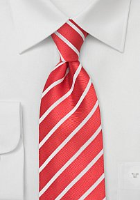 Red and White Striped Tie