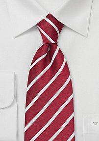Deep Red and White Tie