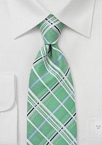 Spring Green Plaid Patterned Tie