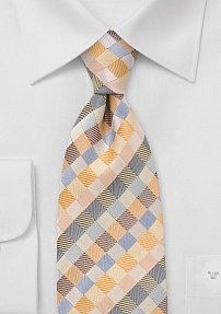 Yellow and Blue Patchwork Tie
