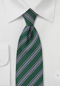 Graphic Striped Tie in Dark Green