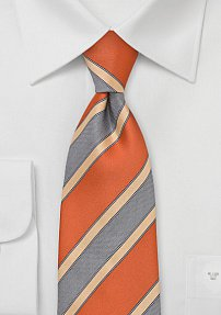 Graphic Striped Tie in Retro Orange
