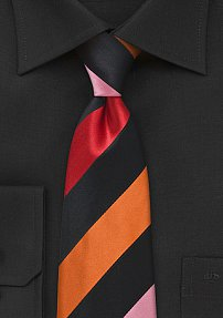 Trendy Striped Tie in Black, Pink, Red, and Orange