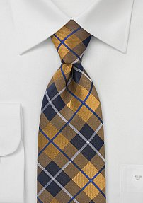 Gold and Navy Plaid Tie