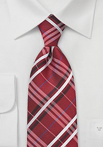 Shaker Red and Grey Plaid Patterned Tie