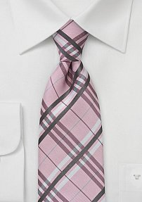 Boys Sized Plaid Patterned Tie in Light Pink