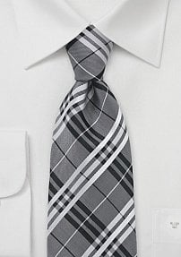 Sharp Plaid Tie in Black and Silver