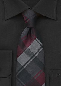 Large Scale Plaid in Charcoals and Burgundys
