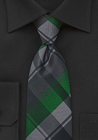Large Scaled Plaid Tie in Blacks and Greens