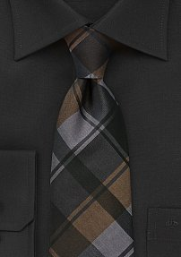 Polished Plaid Tie in Charcoals and Coppers