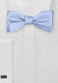 Self Tied Polka Dot Blue Tie in Soft Blue