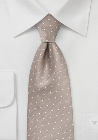 Handwoven Extra Long Polka Dot Tie in Champagne