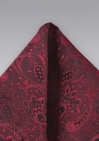 Red and Black Silk Pocket Square with Paisleys