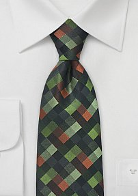 Diamond Patterned Tie in Greens