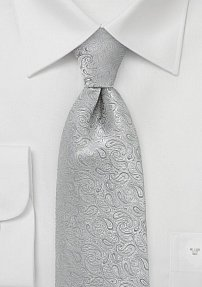 Luxe Silver Paisley Tie