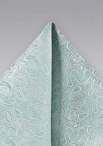 Silk Pocket Square in Light Mint with Silver Paisleys