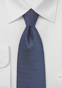 Mens Navy and White Patterned Necktie