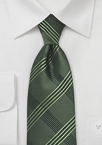 Mens Plaid Tie in Olive Green