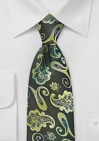 Bold Colored Paisley Tie in Rich Greens