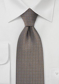 Designer Silk Tie in Copper, Black, Silver