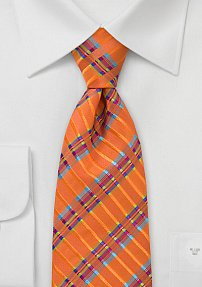 Vibrant Men's Tie in Mandarin Orange