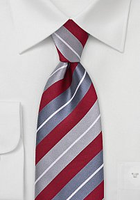 Polished Striped Tie in Red and Silvers
