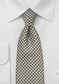 Patterned Tie in Fern and Beige