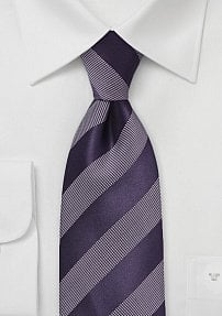 Purple Striped Tie with White Accents