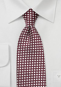Graphic Dot Tie in Merlot