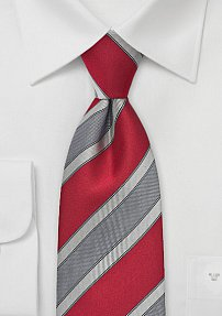 Modern Striped Tie in Chile Red