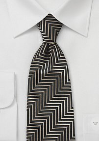 Aztec Patterned Tie in Black and Gold
