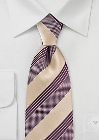 Striped Tie in Cream and Burgundy
