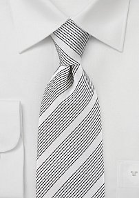 Mens Ivory and Black Patterned Tie