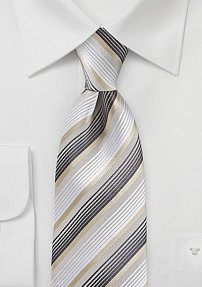 Modern White, Gold and Charcoal Tie