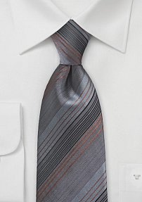 Striped Tie in Charcoals and Coppers