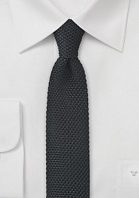 Skinny Knit Tie in Proper Black