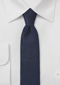Skinny Knit Tie in Solid Navy Blue
