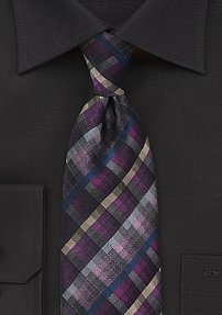 Trendy Plaid Necktie in Pinks, Purple, and Gray