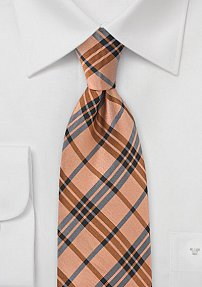 Trendy Tangerine Plaid Tie