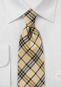 Mens Plaid Tie in Grayand Yellows