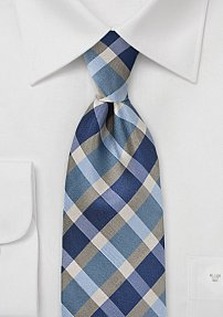 Plaid Tie in a Palette of Blues