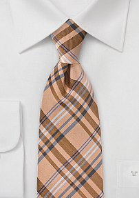 Vintage French Peach Plaid Tie