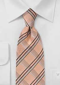 Structured Plaid Tie in Vintage Peach