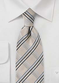 Modern Plaid Tie in Champagnes