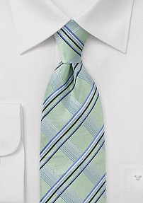 Plaid Tie in Light Greens and Periwinkles