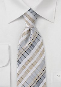 Graphic Tie in Soft Tans and Silvers