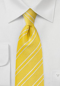 Men's Bright Yellow and White Tie