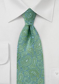 Art Deco Paisley Tie in Blues with Greens